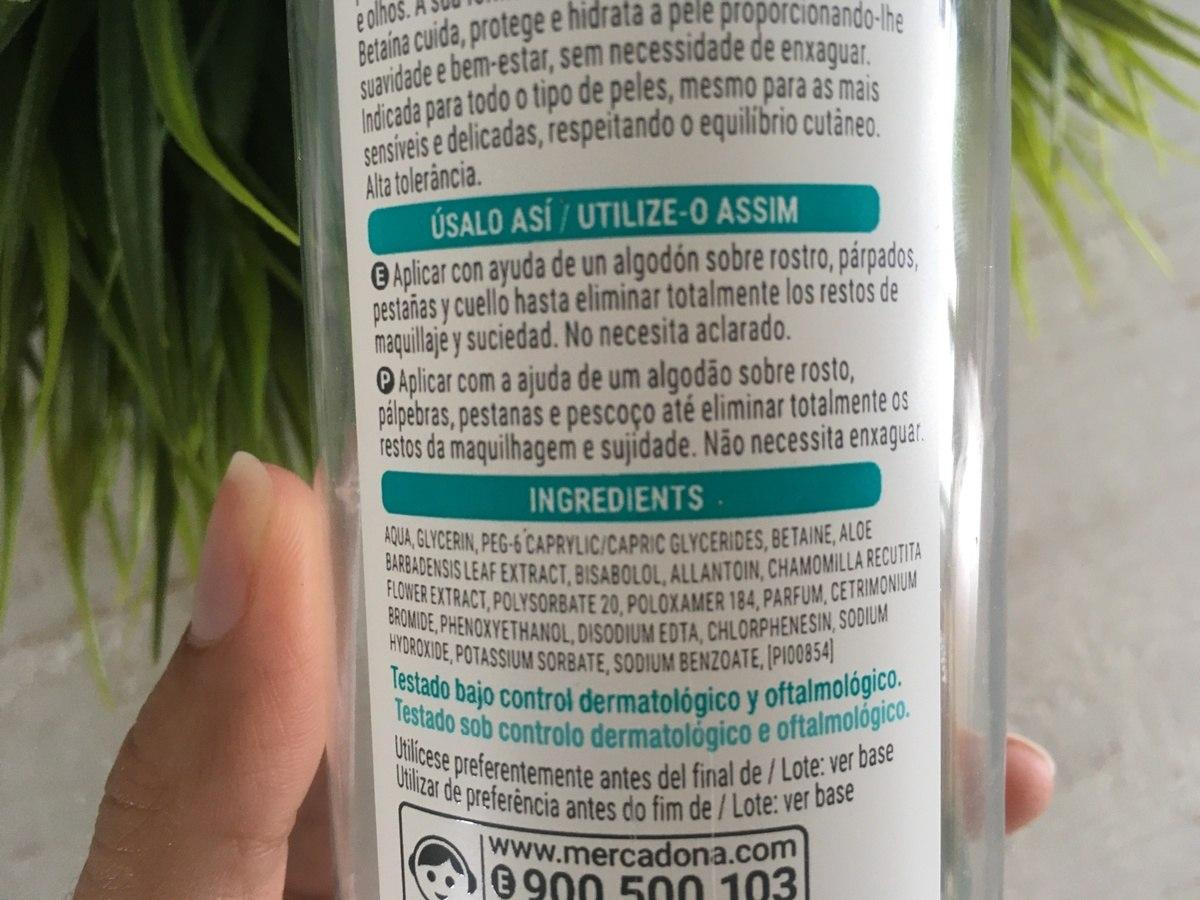inci agua micelar mercadona